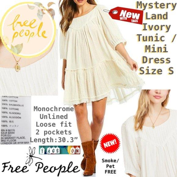 Free People Dresses & Skirts - FP Mystery Land Ivory Tunic / Mini Dress S NWT ❤